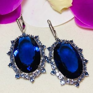Sterling Silver.925 IOLITE and CZ Earrings